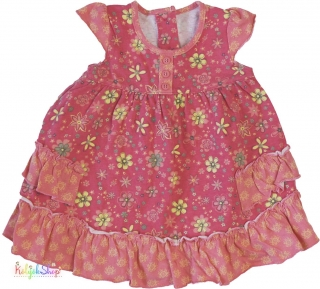113904900f0c Matalan sárga virágos, rózsaszínes-narancsos pamut ruha 68' 5-Újszerű empty