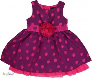 00661b27f95d George 3D virágos, pöttyös lila, alsószoknyás ruha 86' 4-Hibátlan empty