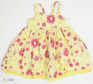 0ed4901d4f Rózsaszín virágos sárga, 2 rétegű alsószoknyás ruha 86' 4-Hibátlan empty